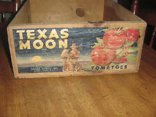 "Vintage Rare ""Texas Moon"" Wood Crate Donna Citrus Inc. 30Lbs Tomatoe Box"