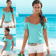 New Women's Summer Sexy Elegant Strapless Tops Short Sleeved T-shirt Solid Color