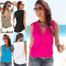 Women's Deep V Neck Casual Shirt Sleeveless Vest Top Plain Blouse Summer Tops US