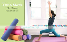 6mm Thick YOGA MAT TPE Pilates Non Slip Durable Exercise Fitness  Workout 183x61