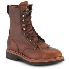 "Mens Light Brown 8"" Kiltie Lacer Leather Work Boots BONANZA 817 Size 6-12 (D, M)"