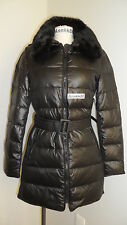 NEW Victorias Secret Moda International Fur-trim Puffer Down Coat Black Ruched
