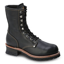 "Mens Black 9"" Logger Oiled Leather WP Work Boots BONANZA 901 Size 5-12 (D, M)"
