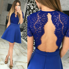 Fashion Womens Lace Short Sleeve Sexy Backless Evening Cocktail Party Mini Dress