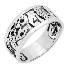 Sterling Silver Vintage Style Good Luck Elephant Horseshoe Owl Clover Ring