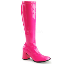 Funtasma GOGO-300UV Women's Boots Neon Hot Pink Patent Knee High Block Heeled