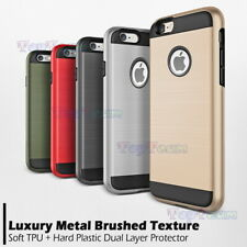 Metal Brushed Texture Hard Bumper + TPU Hybrid Shockproof Case Cover For iPhone