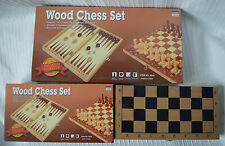 BUY 2 SAVE £3 Wooden Chess Set & Backgammon wood folding board and pieces large