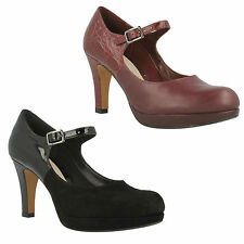 ANGIE KENDRA LADIES CLARKS HIGH HEEL SUEDE BUCKLE MARY JANE COURT SHOES