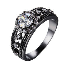 Size 6-10 Women's Gift White Sapphire 10KT Black Gold Filled Wedding Party Ring