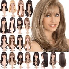 Cute Effortless Long Layered Haircuts Full Wig with Bangs Straight Wavy Hair