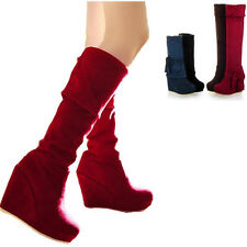 High Wedge Heel Pull on Over The Knee High Boots Bow Tie Platform Shoe US Size
