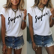 Fashion Womens Letters Printed Loose Short Sleeve Casual T-Shirt Tops Blouse