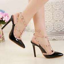 Sexy Women's Pointy Toe Slingback High Heels Spike Studded Strappy Pumps Shoes