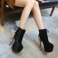 Women Black Platform Zip Lace Up Ankle Boots Suede PU High Heels Stilettos Shoes