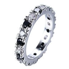 Size 5-10 Black Sapphire Band Women's 10Kt White Gold Filled Wedding Party Ring