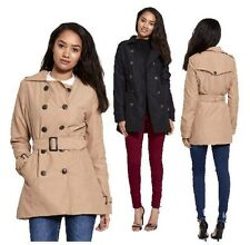 WOMENS LADIES BRAVE SOUL DOUBLE BREASTED BUCKLE BELTED MAC JACKET TRENCH COAT