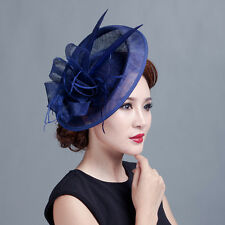 Fashion Lady Sinamay Fascinator Derby Hat Feather Wedding Victorian Horse Race