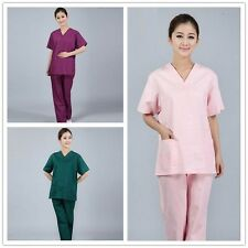 New Nursing Women Hospital Uniform Blouse Trouser Set Hospital  Nurse Scrub