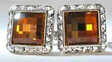 COPPER CHESSBOARD SQUARE CUFFLINKS CUSTOM MADE WITH SWAROVSKI CRYSTALS