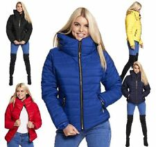 NEW WOMENS LADIES PADDED QUILTED PUFFER JACKET WARM BUBBLE FUR COLLAR COAT 8-14