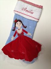 Embroidered Pottery Barn Kids Quilted Christmas Stocking Girl Styles