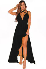 Sexy women ladies evening Black Flared Slit Crisscross Halter Maxi gown  Dress