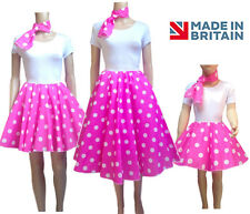 Ladies PINK POLKA DOT ROCK AND ROLL 50s SKIRT and UNDERSKIRT COSTUME Hen Party
