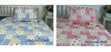 Blue/Pink Cream Printed Patchwork Patches Bedspread Quilt 2pc Set Girl Single