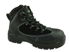 MENS WATERPROOF SAFETY LEATHER ANKLE BOOT STEEL TOE CAP BLACK SIZE UK 6-13