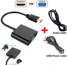 1080P HDMI to VGA Video Converter Adapter + USB Audio Port Cable for PC DVD HDTV