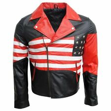 American Flag Mens Independence Day Real/Faux Leather Jacket