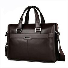 Mens Laptop Briefcase Messenger Shoulder Genuine Leather Business Handbag Bag