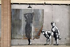 MASSIVE Graffiti Street Art  Banksy shower girl boys  Print Large Canvas