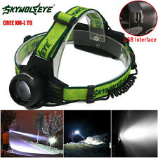 5000LM Cree XM-L T6 LED USB Rechargeable 18650 Headlamp Headlight Head Torch