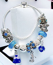 Authentic pandora bracelet with charms,disney pandora, blue,sterling silver,wife
