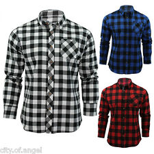 New Mens Casual Lumberjack Checks Plaid Slim Fit Flannel Shirts Tops Long Sleeve
