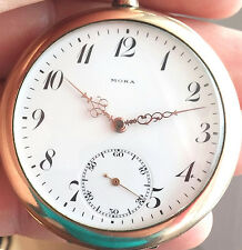 "MORA GOLD PLATED RARE+++ OLD 1920""S MECHANICAL Pocket watch"