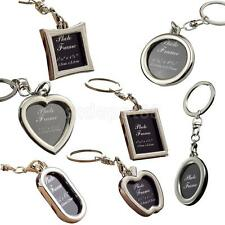 Mini Silver Metal Alloy Insert Photo Picture Frame Split Keyring Keychain Gift