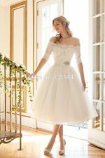 New White/Ivory Lace Off-Shoulder Short Wedding Dresses Custom Size 2-20+