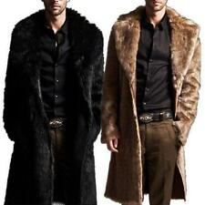 Vogue Faux Fur Coat Mens Outerwear Warm Long Jacket Winter Overcoat Parka Black