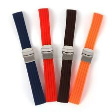 16-24mm Silicone Rubber Soft Watch Strap Deployment Buckle Band Strap Luxury