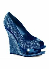 5 1/2 Inch Wedge, 1 1/2 Inch Platform Rhinestone-Covered Peep Toe Pump