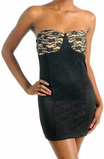 Dress S M L Cocktail Lace Strapless Tube Panel Sexy Nude Mini New Black Woman