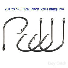 200pcs 7381 Sport Circle Hook Black High Carbon Steel Fishing Hooks Size 1/0-9/0