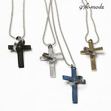 The Bible Cross Ring Necklace Titanium Steel Men's Necklace Showy Ornamental