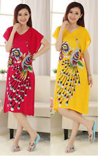 Red Yellow Chinese Cotton Women's Robe Gown Sleepwear Bathrobes Peacock ONE SIZE