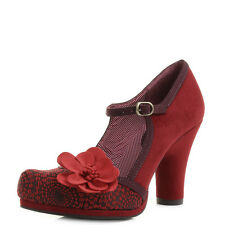 Womens Ruby Shoo Tanya Red Floral Mary Jane Court Shoes Heels Shu Size