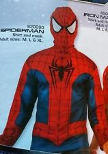 MARVEL COMICS Licensed SPIDERMAN COSTUME L/S Top Kit w/ MASK Adult Sizes