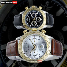 Classic Sketeton Mechanical Wrist Watch Automatic Stainless Steel Leather Sport
